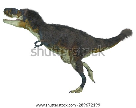 Daspletosaurus Side Profile - Daspletosaurus was a carnivorous theropod dinosaur that lived during the Cretaceous Period of North America. - stock photo