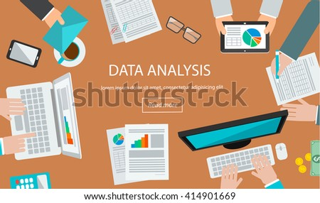 Data analysis  concept with table top view and human hands analyzing statistics on laptop, tablet, computer - stock photo