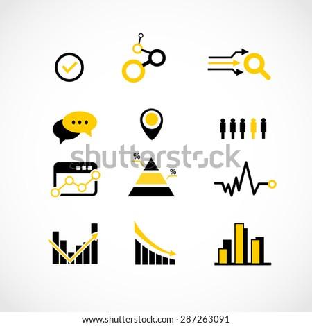 Data analysis icons set illustration - stock photo