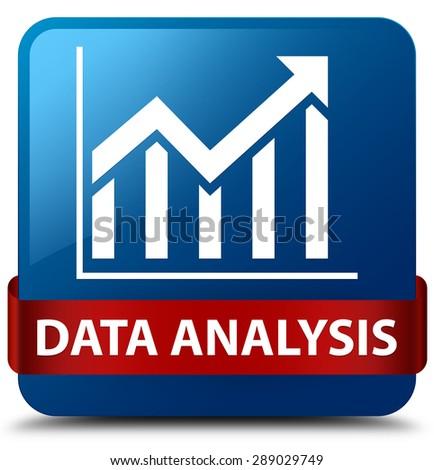 Data analysis (statistics icon) blue square button - stock photo