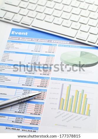 Data analysis with keyword and pen - stock photo