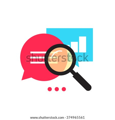 Data analytics icon, analyzing information statistic, search optimization, investigation process, analytics research diagram, bubble speech magnifier flat illustration design isolated on white image - stock photo