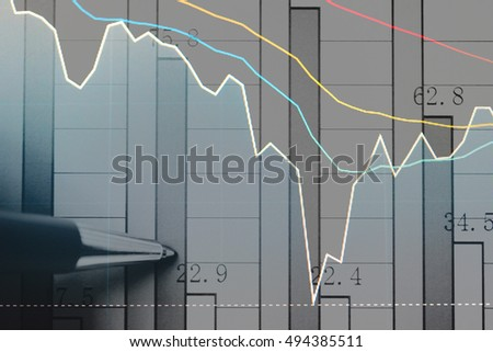 Data analyzing from charts and graph to find out the result in trading market. Working set for analyzing financial statistics and analyzing a market data.