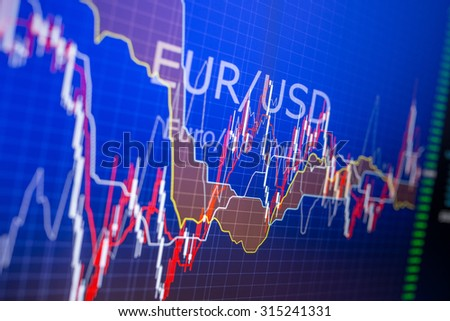 Data analyzing in foreign finance market: the charts and quotes on display. Analytics in pairs EUR / USD relevant information for 2015 - stock photo