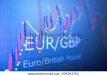 Data analyzing in foreign finance market: the charts and quotes on display. Analytics in pairs EUR / GBP - stock photo