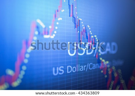 Data analyzing in foreign finance market: the charts and quotes on display. Analytics in pairs EUR / CAD - stock photo