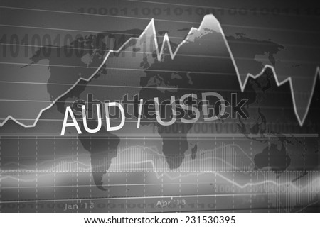 Data analyzing in foreign market: the charts and quotes on display. Analytics in pairs AUD/USD - stock photo