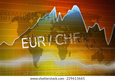 Data analyzing in foreign market: the charts and quotes on display. Analytics in pairs EUR/CHF - stock photo
