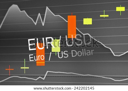 Data analyzing in foreign market: the charts and quotes on display. Analytics in pairs EUR / USD - stock photo