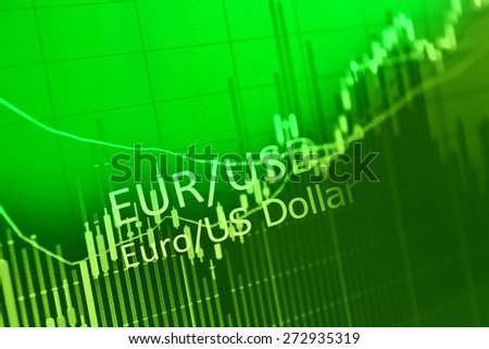 Data analyzing in foreign market: the charts and quotes on display. Analytics in pairs EUR/USD - stock photo