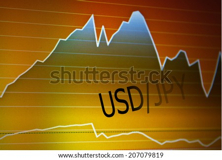 Data analyzing in foreign market: the charts and quotes on display. Analytics in pairs USD / JPY - stock photo