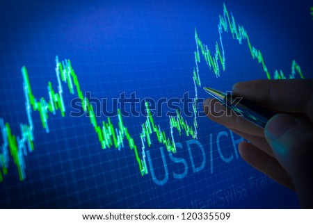Data analyzing in forex market: the charts and quotes on display. Analytics in pairs USD / CHF - stock photo