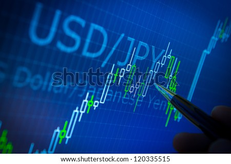 Data analyzing in forex market: the charts and quotes on display. Analytics in pairs USD / JPY - stock photo