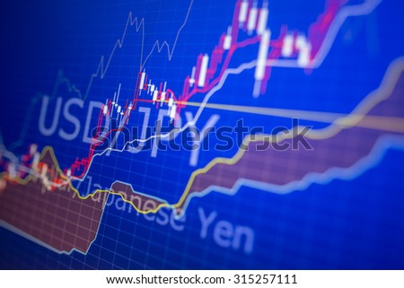 Data analyzing in forex market: the charts and quotes on display. Analytics in pairs USD / JPY relevant information for 2015 - stock photo