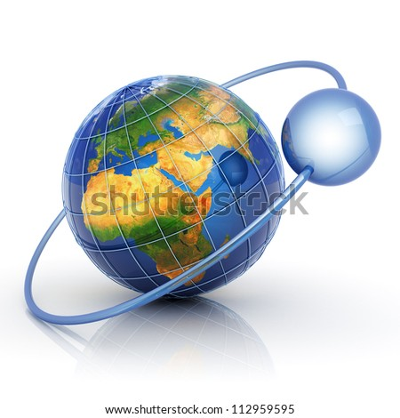 Data around world concept. Elements of this image furnished by NASA. - stock photo