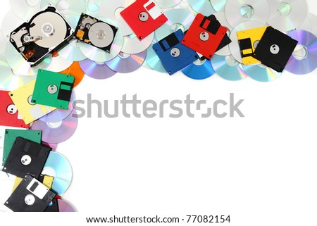 data background (floppy disks, harddrive,cd-rom, dvd-rom, dvd) - stock photo