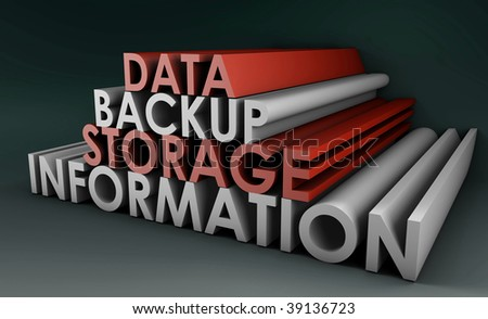 Data Backup Information in 3d Art Sign - stock photo