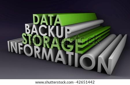 Data Backup Information in 3d Art Sign - stock photo
