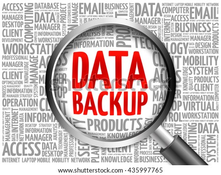 Data Backup word cloud with magnifying glass, business concept 3D illustration