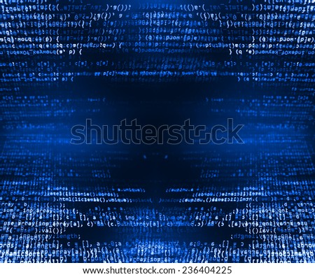 Data bits computer bits, shadow and dark vignette effect. Gibberish, dummy, lorem ipsum text. Letters, chars, and digits. (MORE SIMILAR IN MY GALLERY) - stock photo