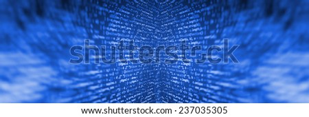Data bits computer bits, shadow and dark vignette effect. Gibberish, dummy, lorem ipsum text. Letters, chars, and digits.  Blue background color.  - stock photo