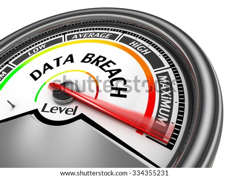 Data breach level to maximum modern conceptual meter, isolated on white background - stock photo