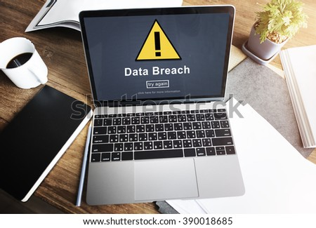 Data Breach Unsecured Warning Sign Concept - stock photo
