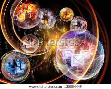 Data Bubble series. Composition of telecommunication symbols and design elements on the subject of communication and information technologies - stock photo