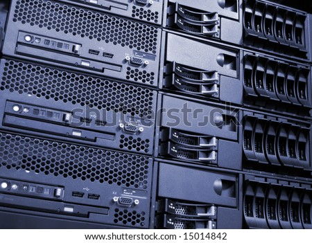 Data center computer server room cluster - stock photo
