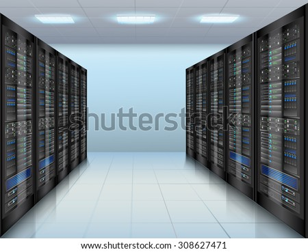 Data center concept with network servers database computer hardware room  illustration