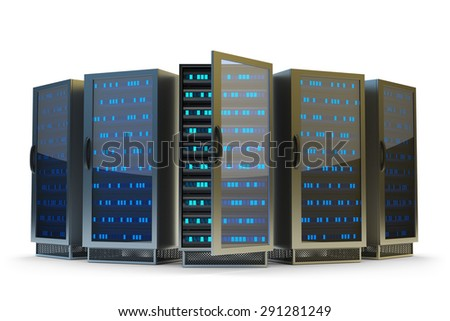 Data center, network server and internet hosting concept, server racks isolated on white background