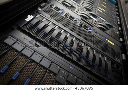 Data Center Server Rack - stock photo