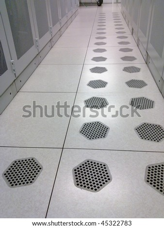 Data Center with Cooling Sytem - stock photo