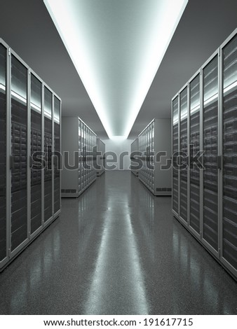 Data Center with long row of servers - stock photo