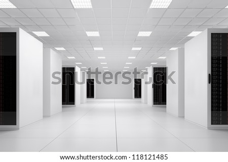 Data centre side view 5 rows of racks - stock photo