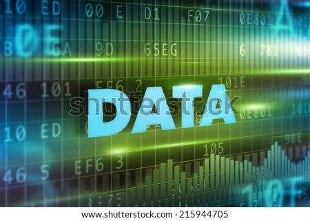 Data concept background green background concept blue text