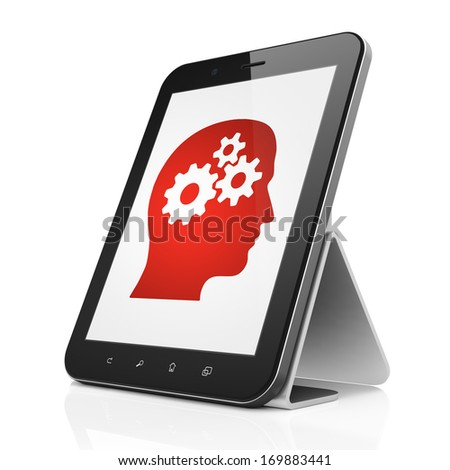Data concept: black tablet pc computer with Head With Gears icon on display. Modern portable touch pad on White background, 3d render - stock photo