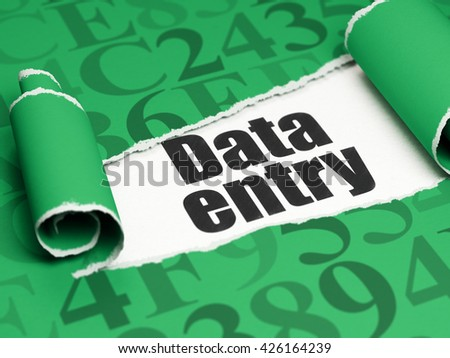 Data concept: black text Data Entry under the curled piece of Green torn paper with  Hexadecimal Code, 3D rendering