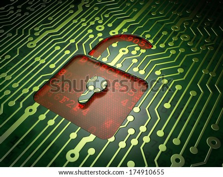 Data concept: circuit board with Opened Padlock icon, 3d render