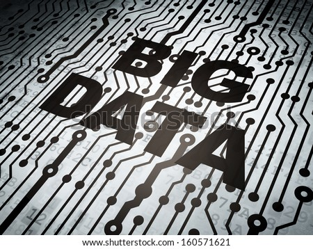 Data concept: circuit board with  word Big Data, 3d render - stock photo