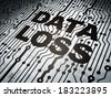 Data concept: circuit board with  word Data Loss, 3d render - stock photo