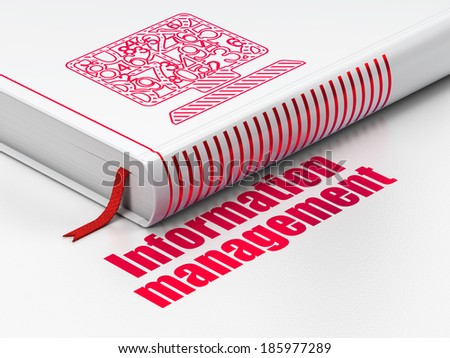 Data concept: closed book with Red Computer Pc icon and text Information Management on floor, white background, 3d render - stock photo