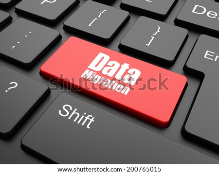 Data concept: computer keyboard with word Data Migration, selected focus on enter button background, 3d render - stock photo