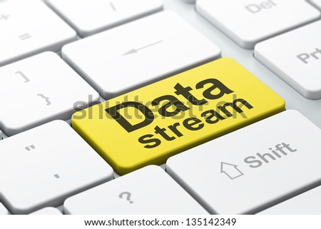 Data concept: computer keyboard with word Data Stream, selected focus on enter button background, 3d render - stock photo