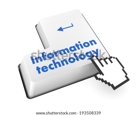 Data concept: computer keyboard with word Information Technology on enter button background, 3d render - stock photo