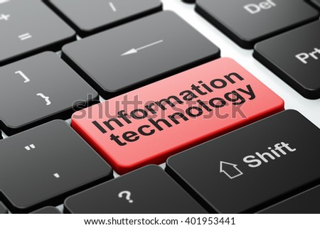 Data concept: computer keyboard with word Information Technology, selected focus on enter button background, 3D rendering - stock photo