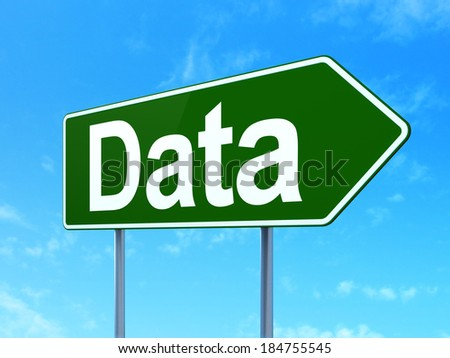 Data concept: Data on green road (highway) sign, clear blue sky background, 3d render
