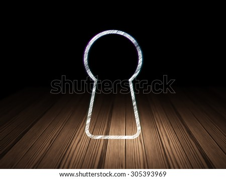 Data concept: Glowing Keyhole icon in grunge dark room with Wooden Floor, black background, 3d render