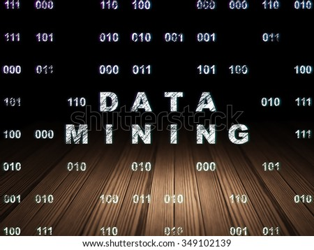 Data concept: Glowing text Data Mining in grunge dark room with Wooden Floor, black background with Binary Code - stock photo