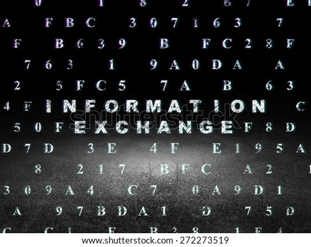 Data concept: Glowing text Information Exchange in grunge dark room with Dirty Floor, black background with Hexadecimal Code, 3d render